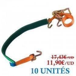10 UNITÉS Sangle d'arrimage de roues Avec housse 1.900KG - 35MM